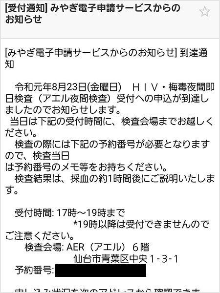 アエル性病検査 メール画面