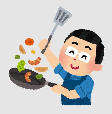 料理をする旦那さん
